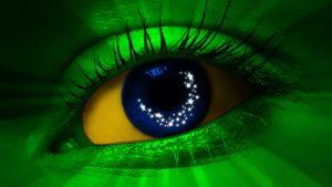 Clin d'oeil au déluge, avec les couleurs du Brésil / Piscar de olho, com as cores do Brasil