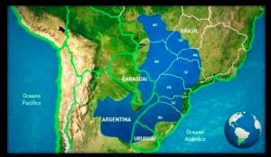 Carte de Mato Grosso du Sud, Centre-Ouest du Brésil, Amérique du Sud.