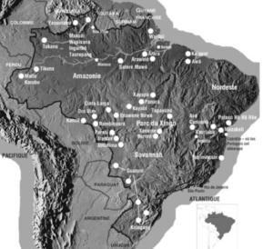 Carte du Brésil avec ses ethnies.
