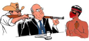 """Cartoon de Latuff 2012, """"L'Agro-négoces et le Génocide Guarani Kaiowa au Brasil"""", dessiné dans un campement Guarani Mbyá, Cachoeira do Sul (RS)."""